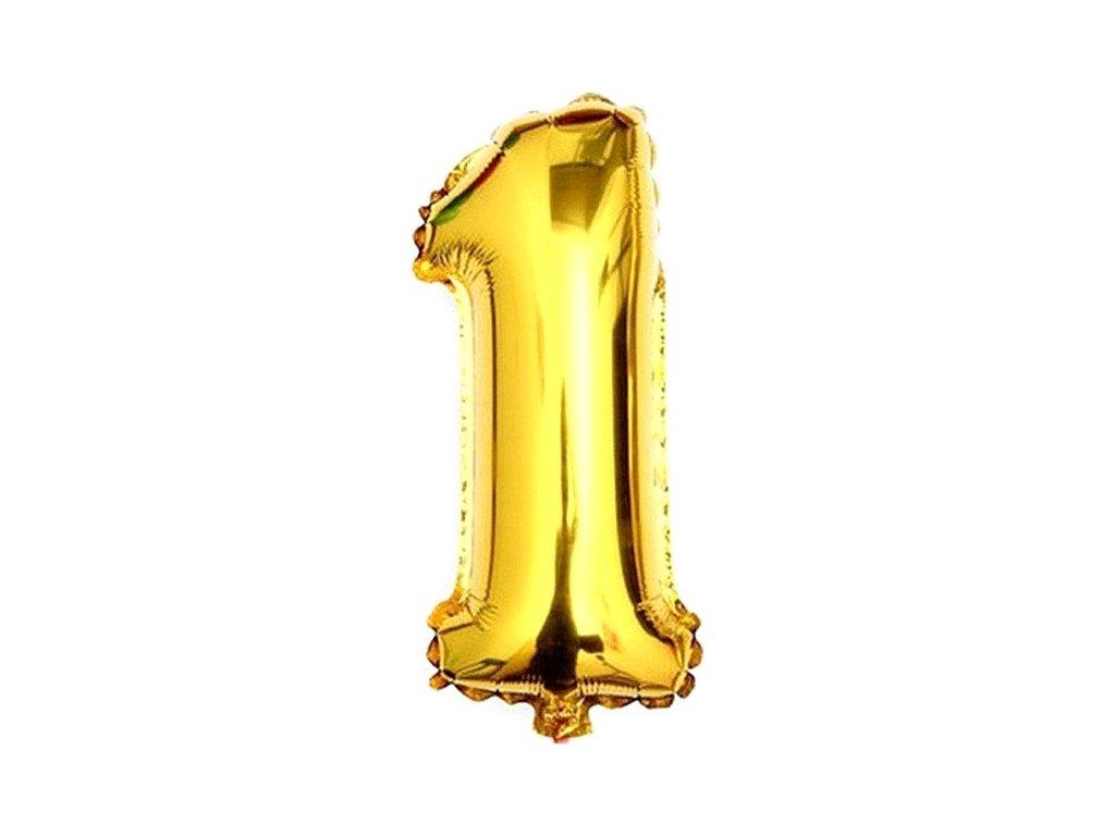 Balónek fóliový narozeniny číslo 1 zlatý 82cm