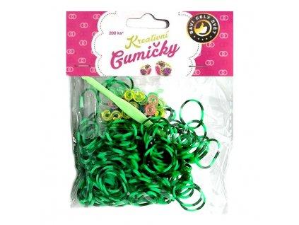 Loom Bands Pletací gumičky pruhované zelené 200ks + háček