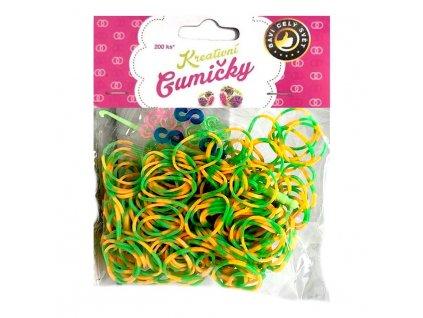 Loom Bands Pletací gumičky pruhované zeleno-žluté 200ks + háček