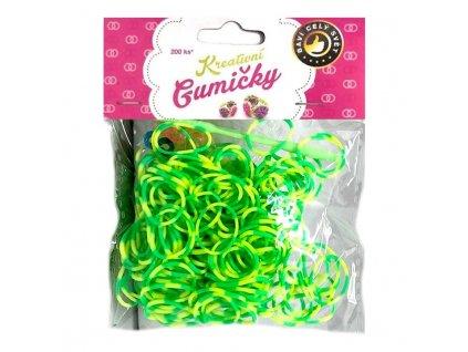 Loom Bands Pletací gumičky pruhované zeleno-žluté 2, 200ks + háček
