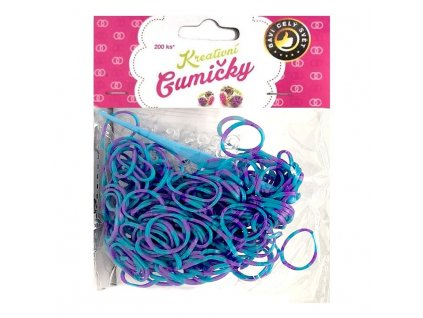 Loom Bands Pletací gumičky pruhované modro-fialové 200ks + háček