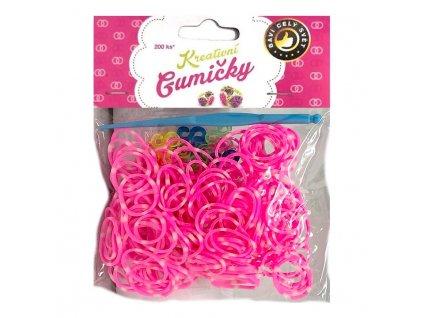 Loom Bands Pletací gumičky pruhované růžovo-bílé 200ks + háček