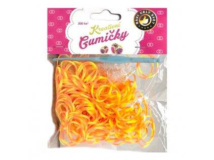 Loom Bands Pletací gumičky pruhované oranžovo-žluté 200ks + háček