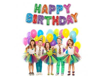 Nafukovací balonky Happy birthday 35 cm fóliový mix