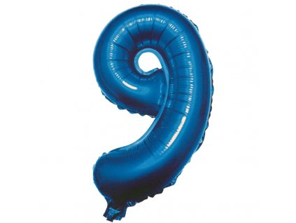 Balónek fóliový narozeniny číslo 9 modrý 82cm