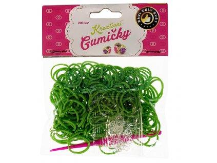 (62) Loom Bands Pletací gumičky zelené 200ks + háček