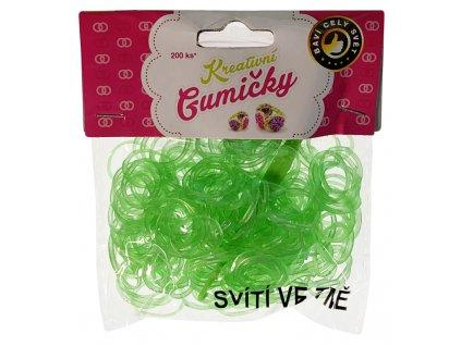 (82) Loom Bands Pletací gumičky svítící ve tmě světle zelené 200ks + háček