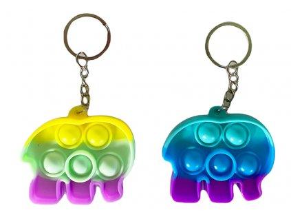Antistresová klíčenka POP IT slon barevný (339)