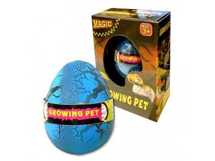 Dinosaurus líhnoucí a rostoucí z vajíčka 6cm v krabičce v 12 ks v boxu (1001) modré