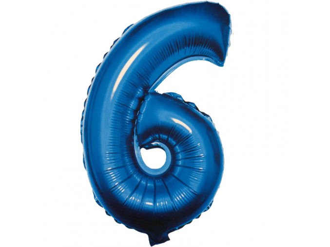 Balónek fóliový narozeniny číslo 6 modrý 82cm