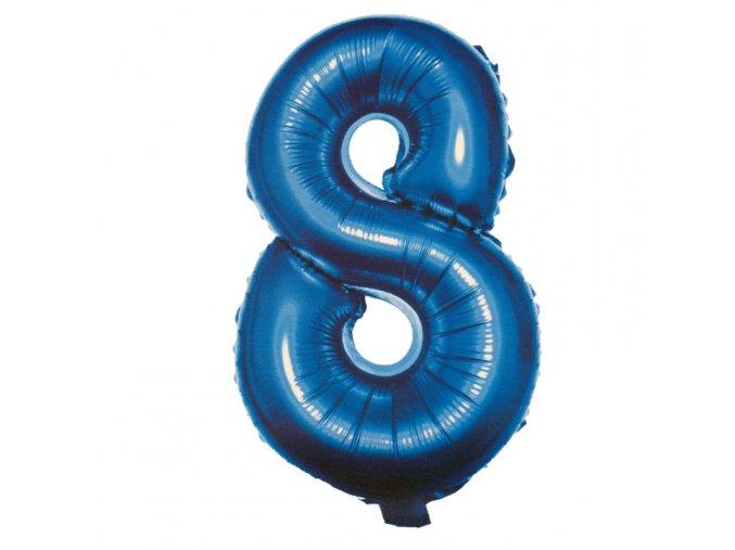 Balónek fóliový narozeniny číslo 8 modrý 82cm