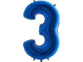 Balónek fóliový narozeniny číslo 3 modrý 82cm