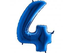 Balónek fóliový narozeniny číslo 4 modrý 82cm