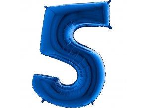 Balónek fóliový narozeniny číslo 5 modrý 82cm