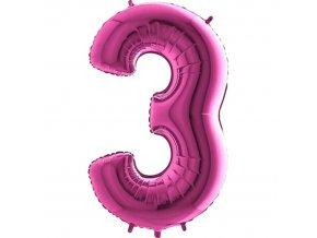 Balónek fóliový narozeniny číslo 3 růžové 82cm