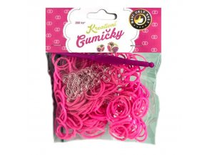 Loom Bands Pletací gumičky růžové 200ks + háček