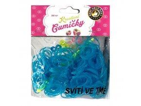 Loom Bands Pletací gumičky svítící ve tmě modré 2, 200ks + háček