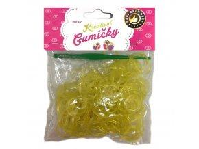 Loom Bands Pletací gumičky žluté se třpytkami 200ks + háček