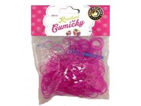 Loom Bands Pletací gumičky růžové se třpytkami 200ks + háček