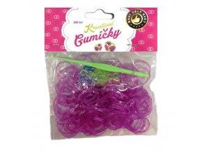 Loom Bands Pletací gumičky fialové 1 se třpytkami 200ks + háček
