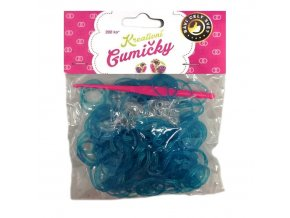 Loom Bands Pletací gumičky modré se třpytkami 200ks + háček