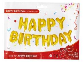 Nafukovací balonky Happy birthday 35 cm fóliový zlatý
