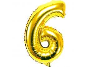 Balónek fóliový narozeniny číslo 6 zlatý 82cm