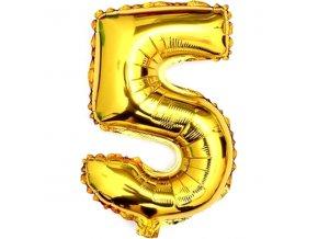 Balónek fóliový narozeniny číslo 5 zlatý 82cm