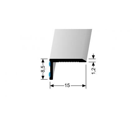 Stěnová ukončovací lišta 15 x 8,5 mm, hladká | Küberit 238 N/SK