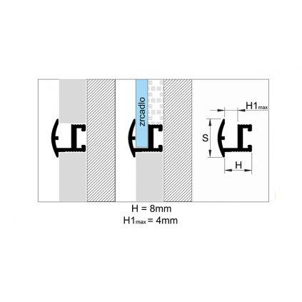 Profil pro zabudování zrcadel 11 mm - hliníkové LISTELLO