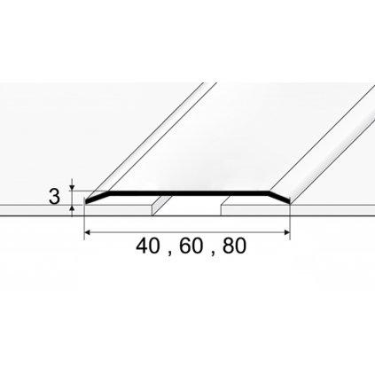 Přechodový profil 40, 60, 80 mm - plochý - z masivní leštěné nebo kartáčované nerezi