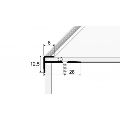 Schodový profil 28 x 12 mm - pro linoleum, PVC, vinyl a koberce - do 3 mm