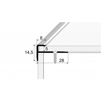 Schodový profil 28 x 15 mm - pro linoleum, PVC, vinyl a koberce - do 5 mm