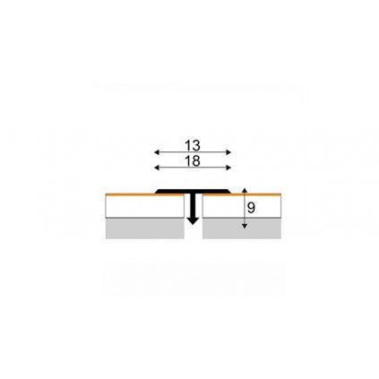 Spárovací profil T 13 a 18 mm - s laminátovou fólií (za použití ohýbacího nářadí)