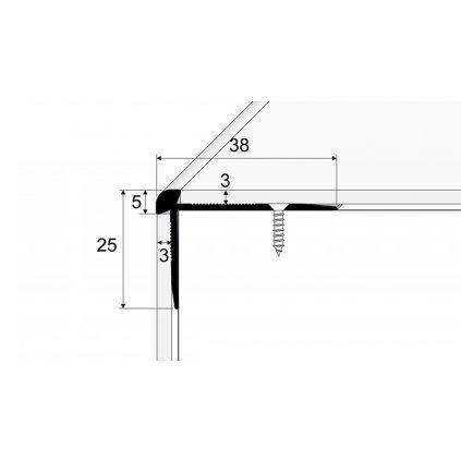 Schodový profil pro krytiny do 3mm