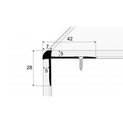 Schodový profil pro krytiny do 5mm