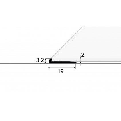 Ukončovací profil - pro linoleum, PVC, vinyl a koberce - do 2 mm