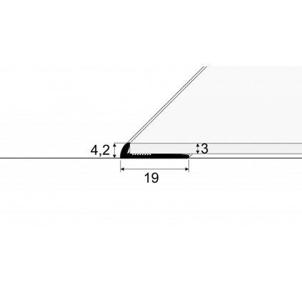 Ukončovací profil - pro linoleum, PVC, vinyl a koberce - do 3 mm