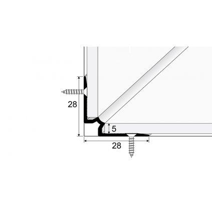 Schodový vnitřní profil pro krytiny do 5mm