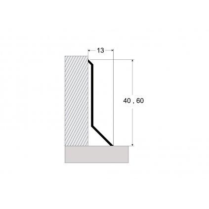 Nerezový soklový profil 40 a 60 mm