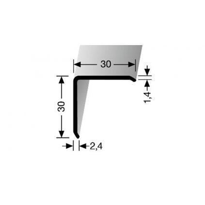 Rohový profil hliníkový, ochranný roh 30x30 mm | Küberit 273 U