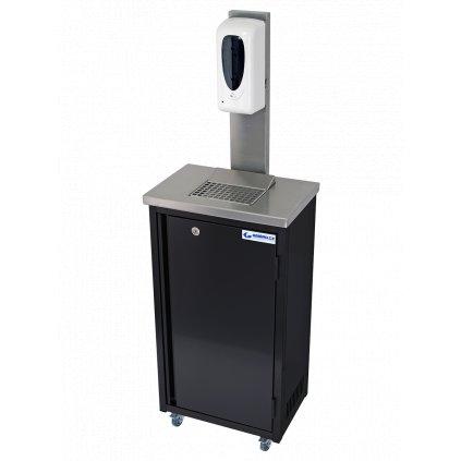 2612 hygienicka mobilni skrinka nerezova cerna s davkovacem dezinfekce 20 litru rovne hrany