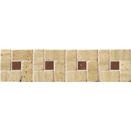 Bordura kamenná mozaika Travertin slonová kost 30x7,5 cm SDMJ9009