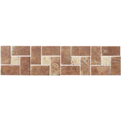 Bordura kamenná mozaika Travertin hnědá 30x7,5 cm SDMJ9010