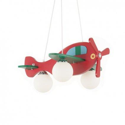 Dětský závěsný lustr Ideal LUx Avion-1 SP3 rosso 136318 červený