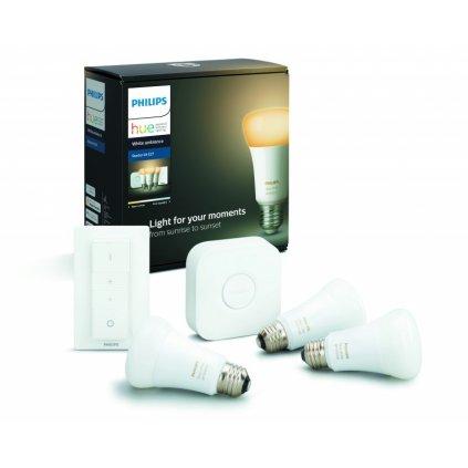 Hue Bluetooth LED White Ambiance základní sada LED žárovka 3xE27 A19 9.5W 806lm 2200K-6500K + bridge + dimmer switch