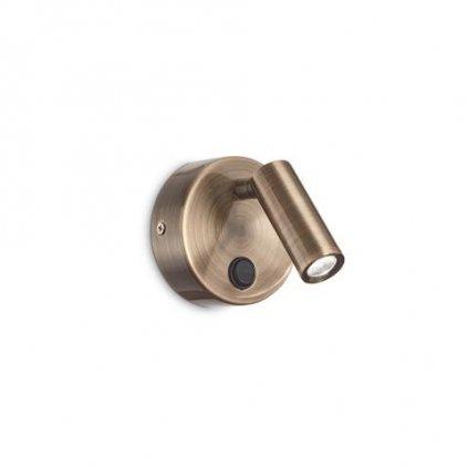 LED Nástěnné svítidlo Ideal Lux Page AP Round Brunito 233680 3W 210lm IP20 kulaté mosazné