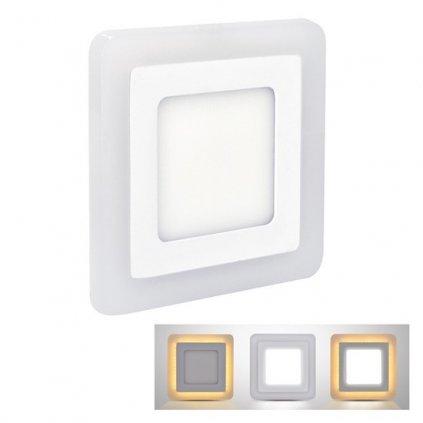 LED Podsvícený podhledový panel Solight WD151, 6W+3W, 400lm+80lm, 4000K+2700K, IP20, čtvercový