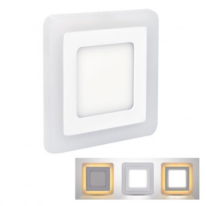 LED Podsvícený podhledový panel Solight WD153, 12W+4W, 900lm+100lm, 4000K+2700K, IP20, čtvercový