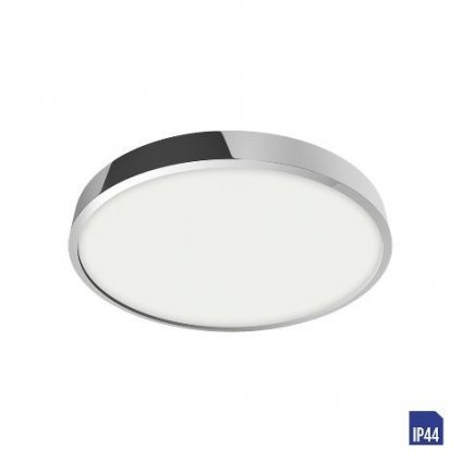LED Stropní a nástěnný panel Luxera LENYS 49025 12W 1020lm 4000K IP44 14cm kulatý chromový